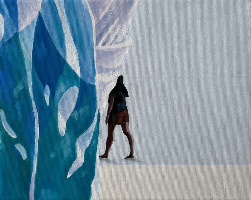 Escaping from the painting I, 2020, oil on canvas, 24 x 30 cm